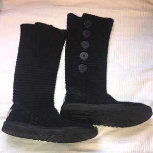 Limited Ed: Black Tall Knit 5 Bailey Button UGGS